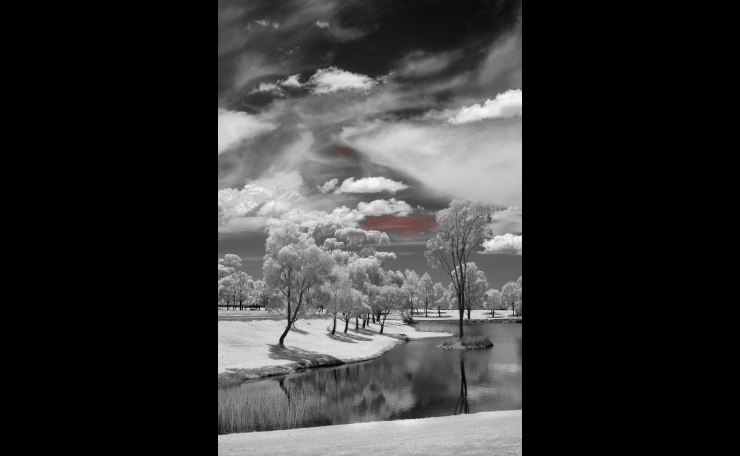 Infrared pond and clouds