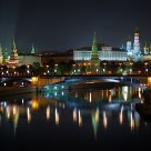 Night view of the Kremlin from Patriarshy Bridge