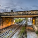 Under the railroad
