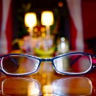 Reading glasses on kitchen table