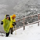 Climbers in snowstorm at the Shixin Peak
