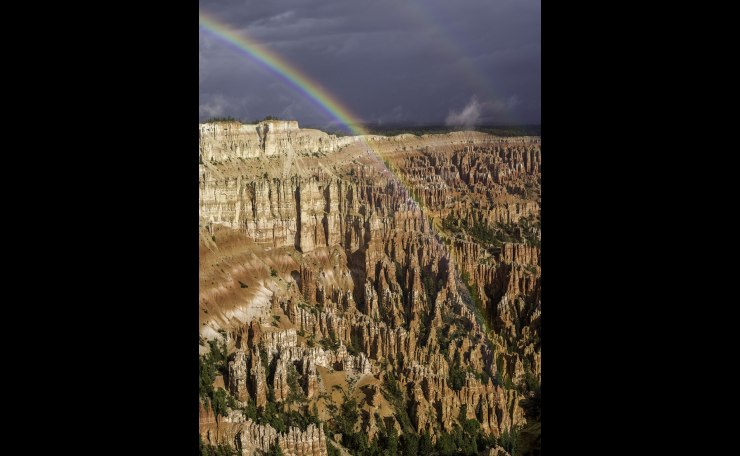 Mpnsoon Rainbow Over Bryce Canyon