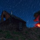 HUT, a fire and STARRY SKY